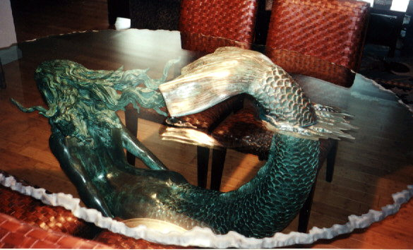 Carved Glass Table With Bronze Mermaid Through Glass Top.